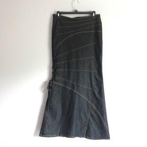 Dark Denim Flared Full-Length Skirt 8